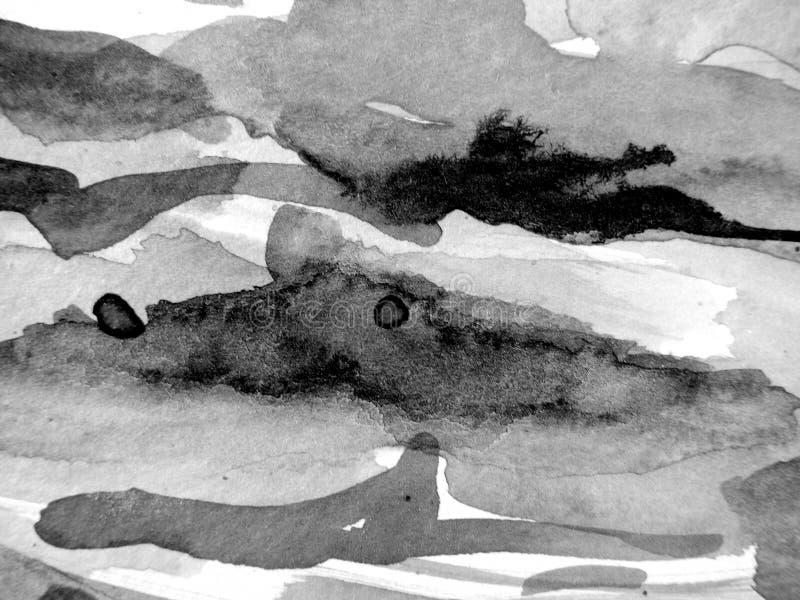 Schwarzer u. weißer Aquarell-Hintergrund 5 stockbilder