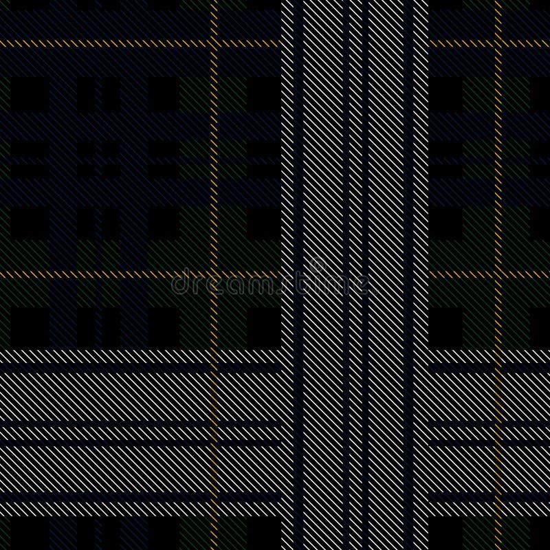 Schwarzer Uhrmilitärschottenstoff Muster mit farbigen Streifen stock abbildung