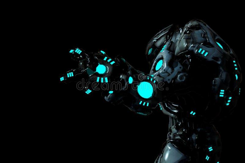 Schwarzer und blauer glühender Raubroboter in einer Seitenansicht des dunklen Hintergrundes vektor abbildung