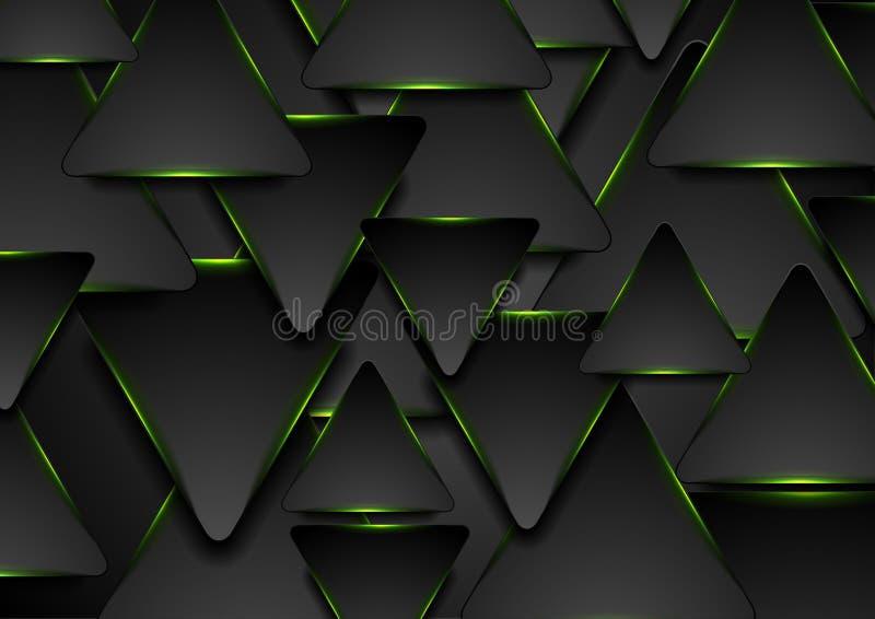 Schwarzer und glühender abstrakter Hintergrund der grünen Dreiecke stock abbildung