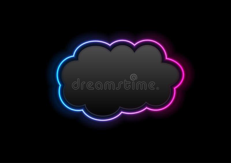 Schwarzer und gl?hender High-Techer Hintergrund der Neonwolke vektor abbildung