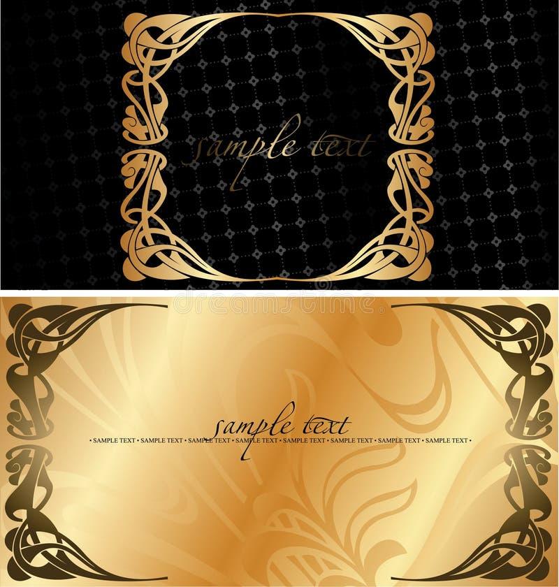 Schwarzer und goldener Abdeckung-Hintergrund. stock abbildung