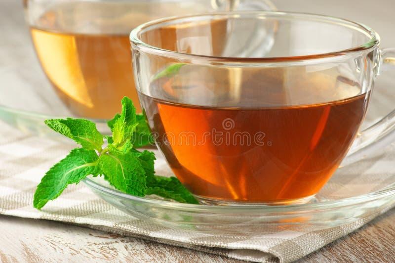 Schwarzer und grüner Tee lizenzfreie stockbilder