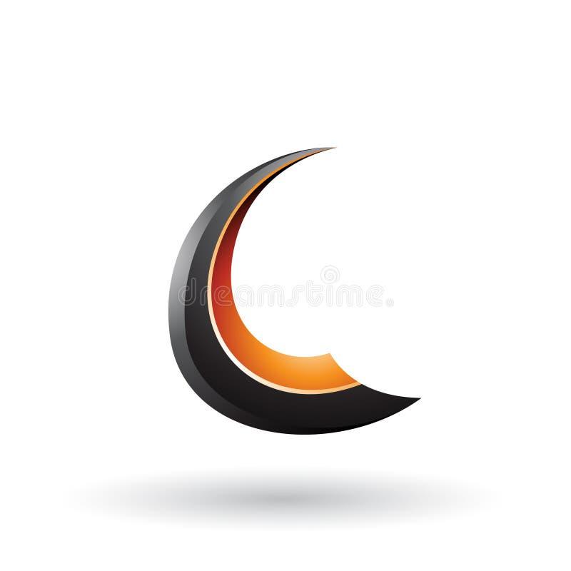 Schwarzer und orange glatter fliegender Buchstabe C lokalisierte auf einem weißen Hintergrund vektor abbildung