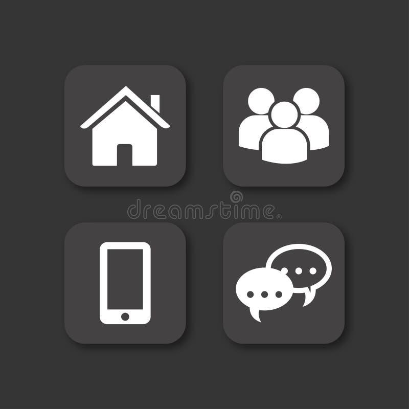 Schwarzer Vektorikonensatz des Hauses, der Mitteilung, der Leute und des Mobiles lizenzfreie abbildung