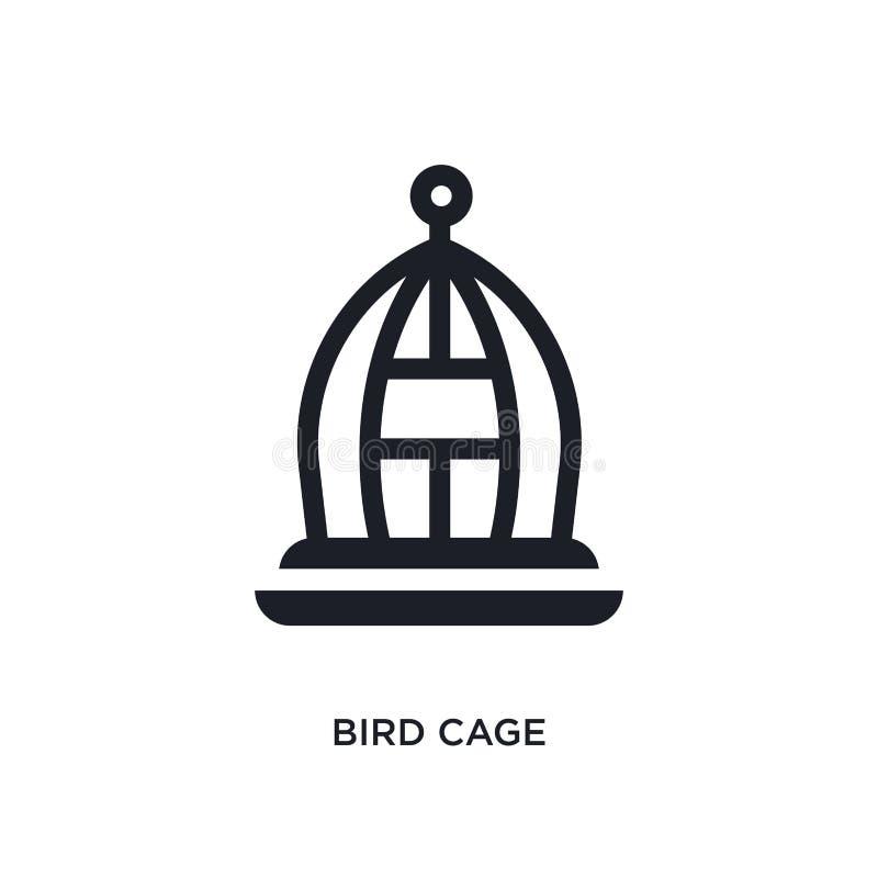 schwarzer Vogelkäfig lokalisierte Vektorikone einfache Elementillustration von den Möbel- u. Haushaltskonzeptvektorikonen Vogelkä lizenzfreie abbildung