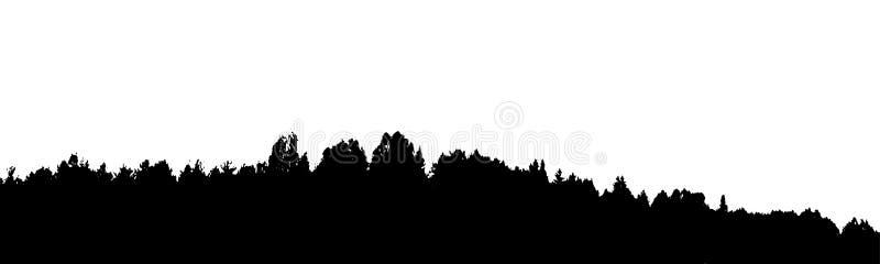 Schwarzer Waldschattenbild Getrennt auf weißem Hintergrund Vektor IL lizenzfreie abbildung