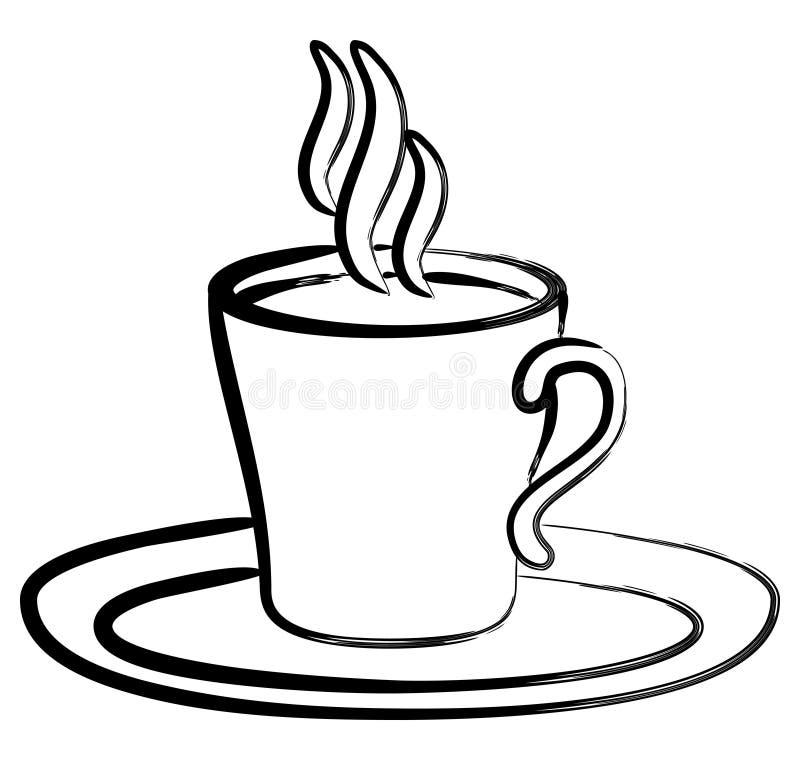 Schwarzer weißer Kaffee der Kunst im Cup vektor abbildung