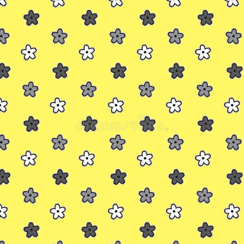 Schwarzer weißer silberner Blumenmuster-Gelbhintergrund lizenzfreie abbildung