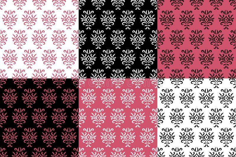 Schwarzer weißer und rosa Damast stilisierte die nahtlosen eingestellten Muster, Vektor vektor abbildung