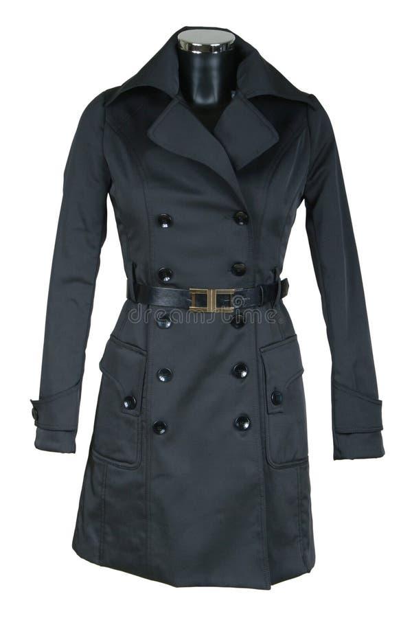 Schwarzer weiblicher Mantel lizenzfreie stockbilder