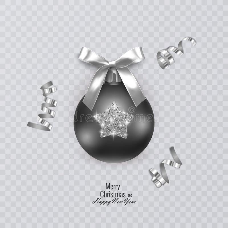 Schwarzer Weihnachtsball mit funkelnder Verzierung auf transparentem Hintergrund, Vektorweihnachtsdekorationen lizenzfreie abbildung
