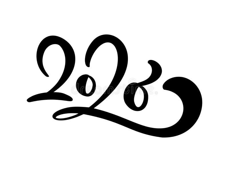 Schwarzer Zahltext 2020 Handgezogene Vektor-Beschriftungskalligraphie Guten Rutsch ins Neue Jahr-Grußkarte Weinleseweihnachten stock abbildung