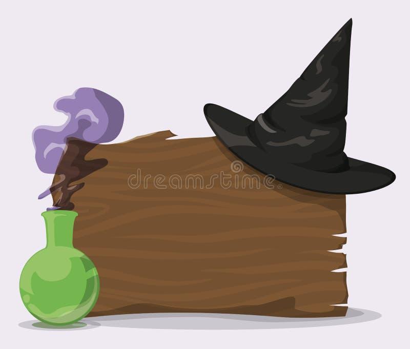Schwarzer Zauberer-Hut auf hölzerner Wand mit Zaubertrank, Vektor-Illustration stock abbildung