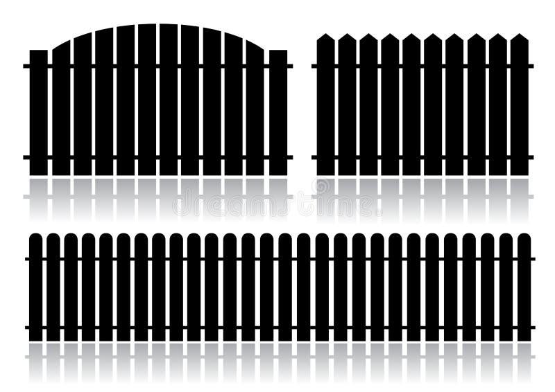 Schwarzer Zaun getrennt auf Weiß vektor abbildung