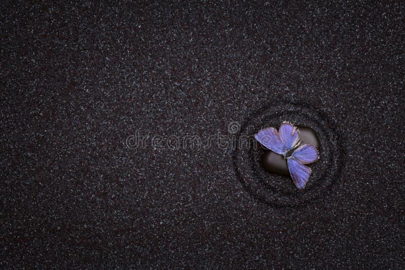 Schwarzer Zengarten mit Welle zeichnet mit einem blauen Schmetterling stockfoto