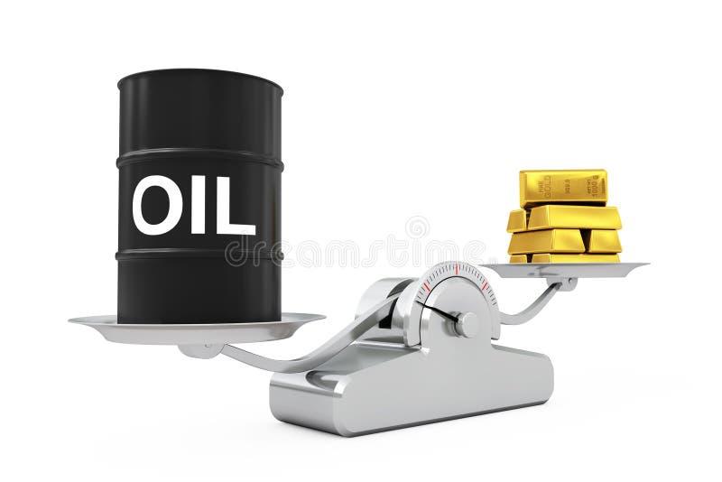 Schwarzes Ölbarrel mit den goldenen Stangen, die auf einem einfachen Weightin balancieren lizenzfreie abbildung
