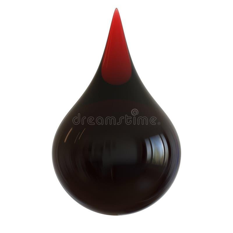 Schwarzes Öltropfentreibstoff-Benzintröpfchen Wasserverschmutzungsikone vektor abbildung