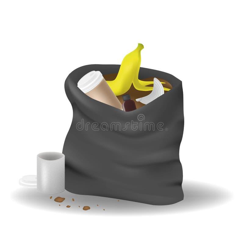 Schwarzes Abfalltaschenoffenes lokalisiert auf weißem Hintergrund Sack Abfall sackful Abfall s?nfte r lizenzfreie abbildung