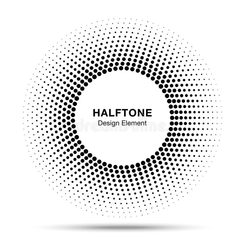 Schwarzes abstraktes Kreis-Rahmen-Halbton Dots Logo Design Element stock abbildung