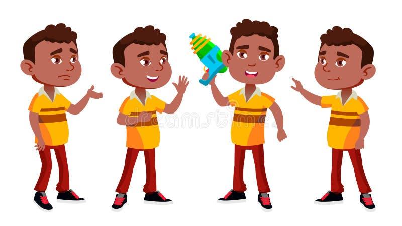 Schwarzes, afroes-amerikanisch Jungen-Kindergarten-Kind wirft gesetzten Vektor auf vortraining Jugendlicher freundlich Wasserwerf stock abbildung