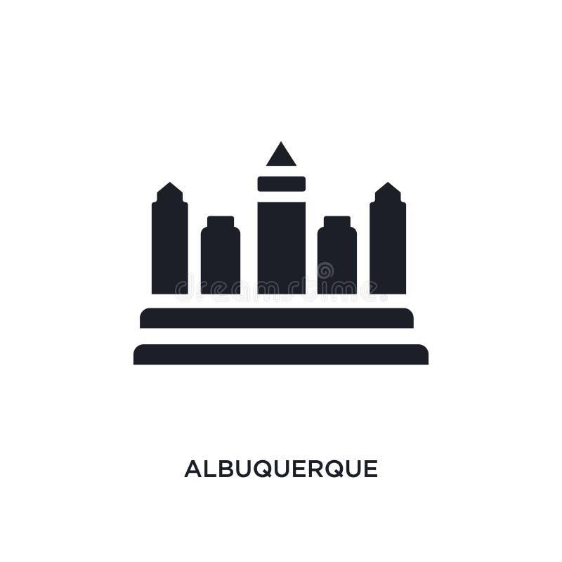 schwarzes Albuquerque lokalisierte Vektorikone einfache Elementillustration von den Konzept-Vektorikonen Staaten von Amerika stock abbildung