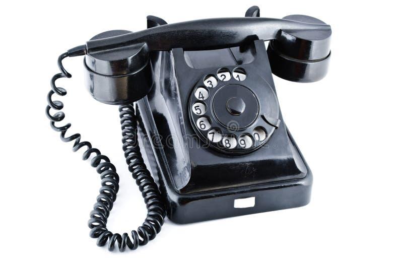 Schwarzes altes Telefon lizenzfreie stockfotos