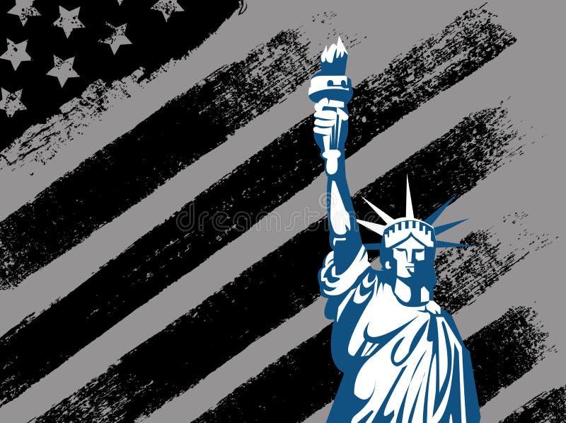 Schwarzes amerikanisches Design mit Statue von Liberty Flag vektor abbildung