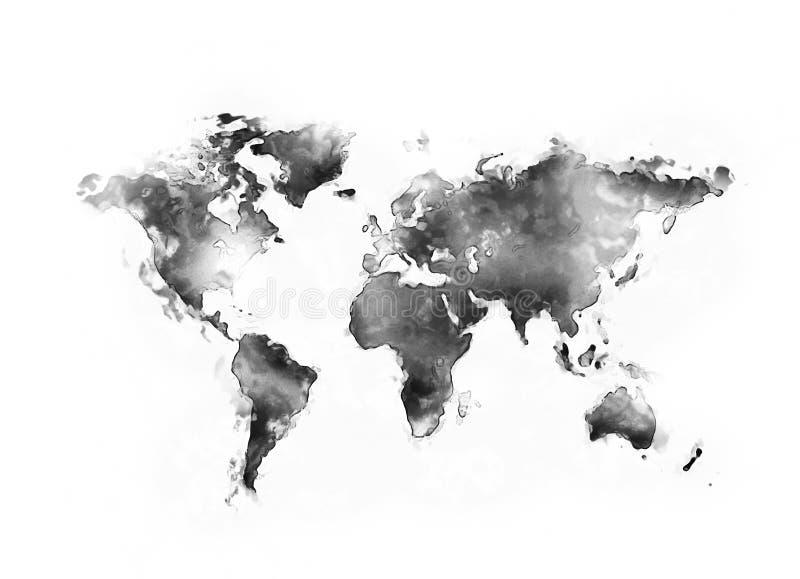 Schwarzes Aquarell der Weltkarte stock abbildung