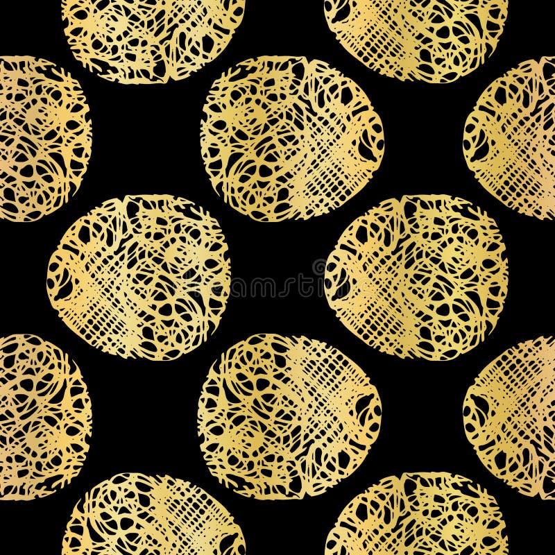 Schwarzes auf Goldpolka Dots Lace Pattern Seamless Vector, gezeichnetes metallisches stock abbildung