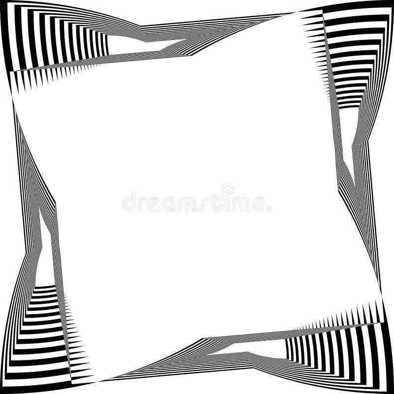 Schwarzes auf transparente Klaviertastatur-Rahmenillusion des Hintergrundes abstrakte Arabeske verzerrter stock abbildung