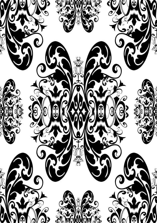 Schwarzes auf weißem nahtlosem antikem Damast vektor abbildung