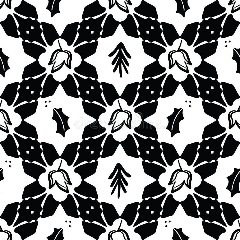 Schwarzes auf weißer Weihnacht steppen Vektor-Muster vektor abbildung