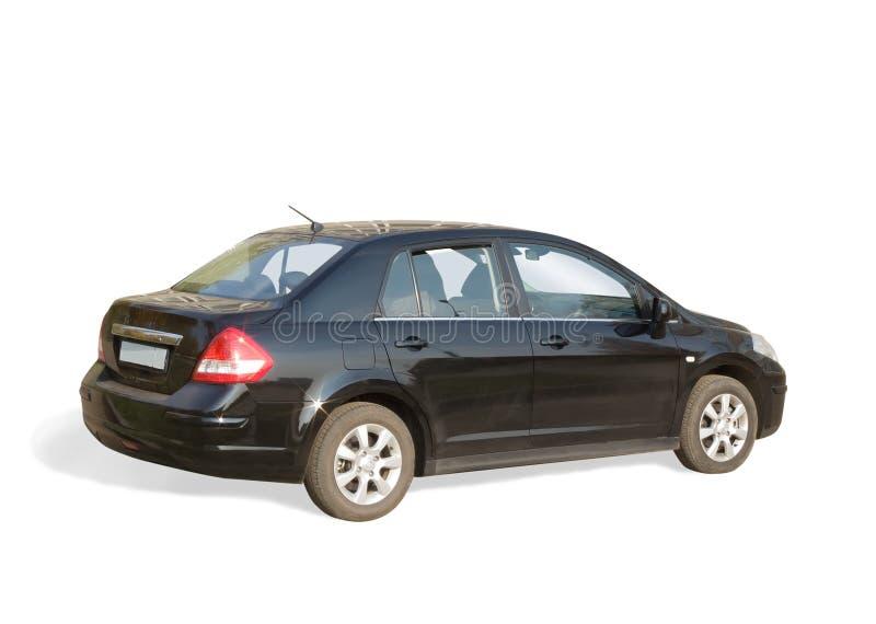 Schwarzes Auto auf Weiß stockfotos