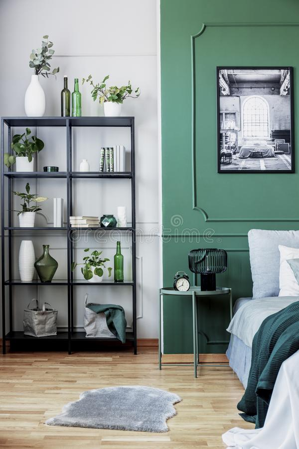 Schwarzes Bücherregal mit Anlagen in der Ecke des schicken Schlafzimmers Innen mit grüner Wand stockfotografie