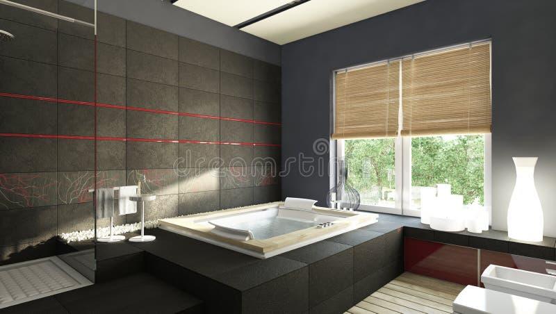 Schwarzes Badezimmer stock abbildung. Illustration von küche - 28080758