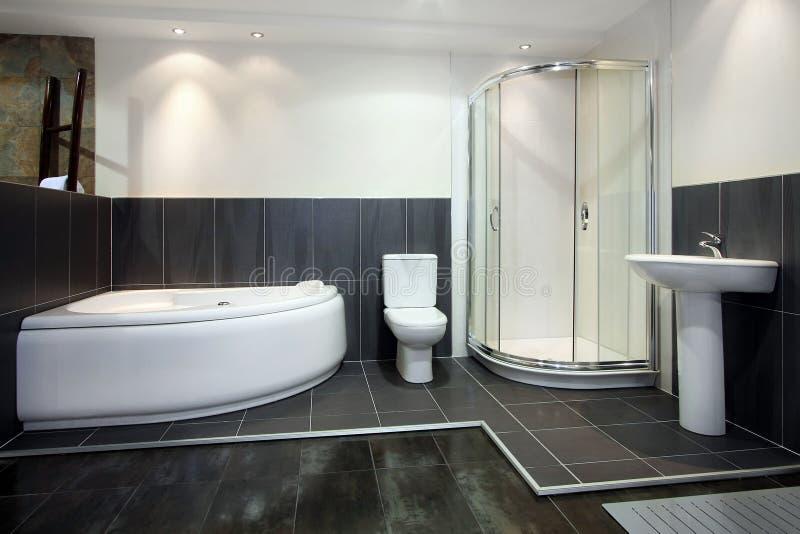 Schwarzes Badezimmer stockbild. Bild von sauber, dusche - 8731435