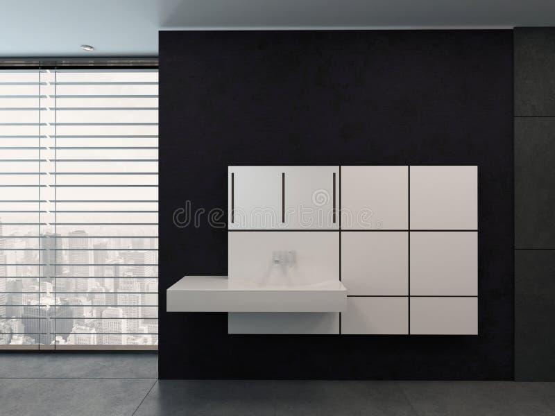 Schwarzes Badezimmer mit weißer moderner Waschschüssel vektor abbildung