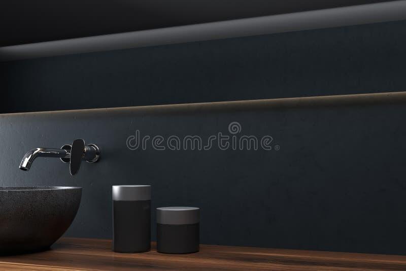 Schwarzes Badezimmer, nahe hohe Seite der Wanne vektor abbildung