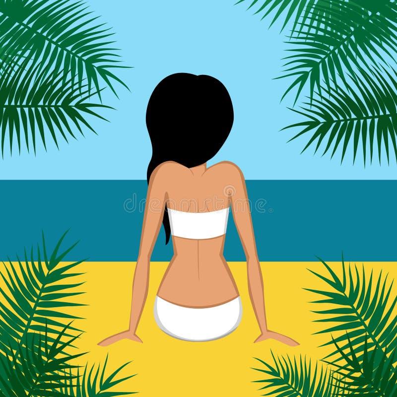 Schwarzes behaartes Mädchen im Badeanzug auf einem Strand vektor abbildung