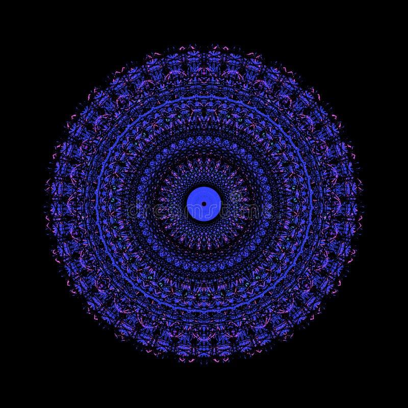 Schwarzes Blumendunkelheitsmusterkaleidoskop Motiv geometrisch vektor abbildung