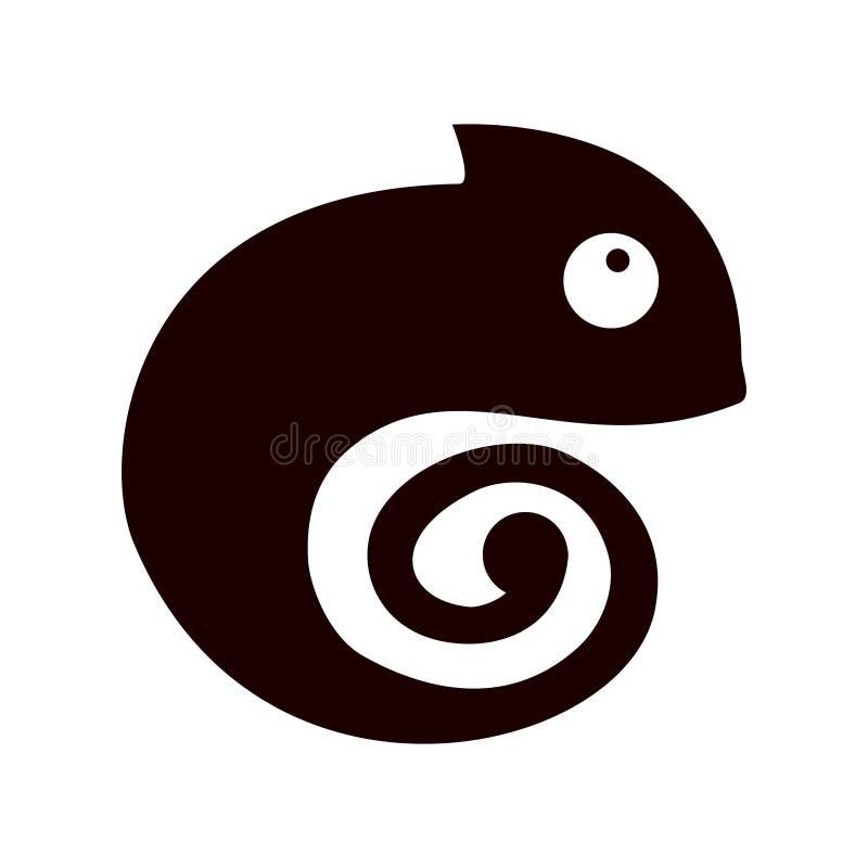 Schwarzes Chamäleon auf dem weißen Hintergrund vektor abbildung