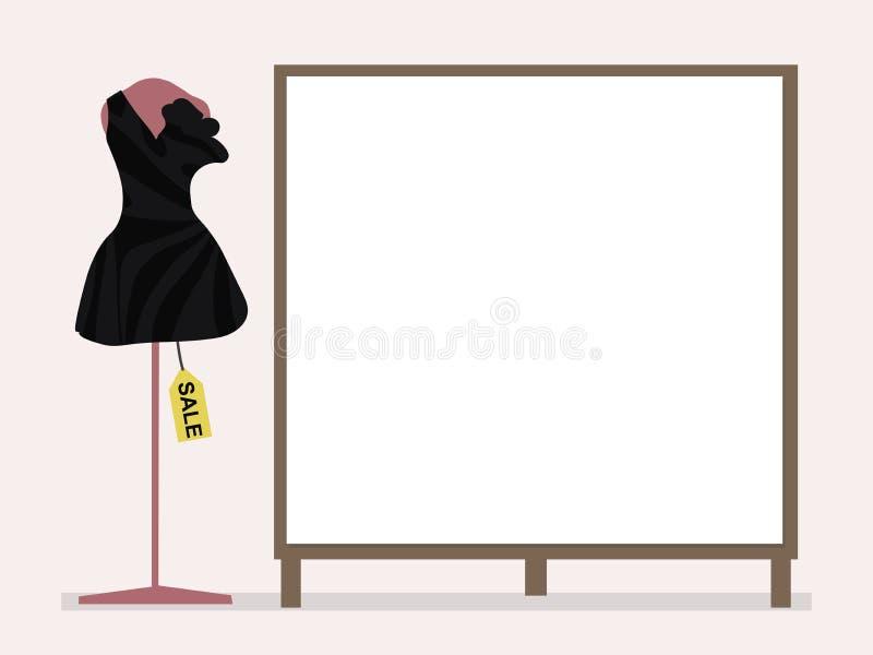 Schwarzes Cocktailkleid auf einem rosa Mannequin und einem Sonderverkauf nahe bei einem leeren Plakat für Aufschriften auf einem  vektor abbildung