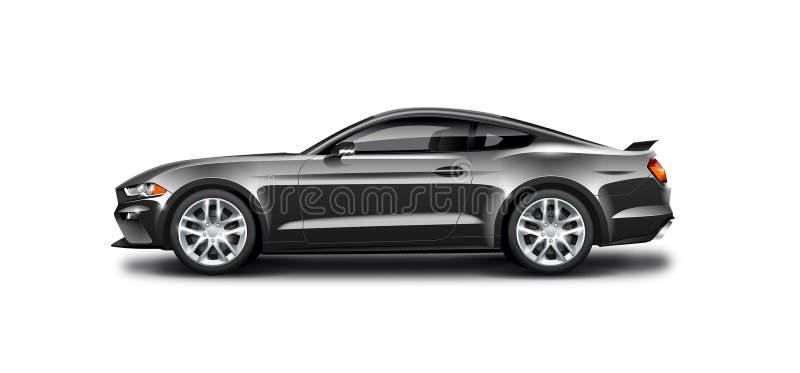 Schwarzes Coupé-sportliches Auto auf weißem Hintergrund Seitenansicht mit lokalisiertem Weg stock abbildung