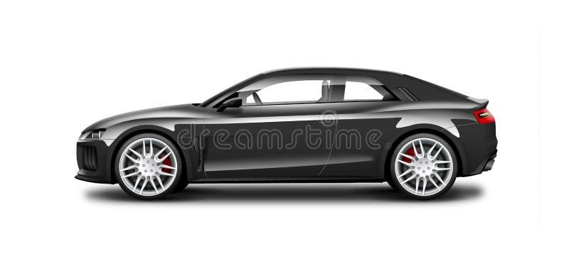 Schwarzes Coupé-sportliches Auto auf weißem Hintergrund Seitenansicht mit lokalisiertem Weg lizenzfreie abbildung