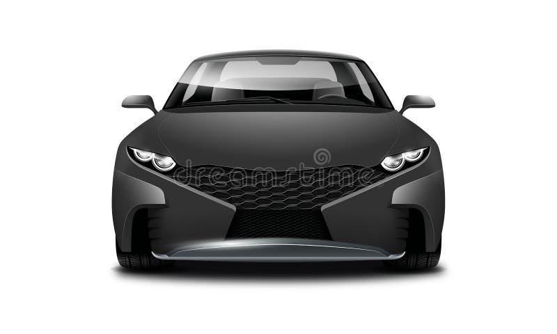 Schwarzes Coupé-sportliches Auto auf weißem Hintergrund Vorderansicht mit lokalisiertem Weg stock abbildung