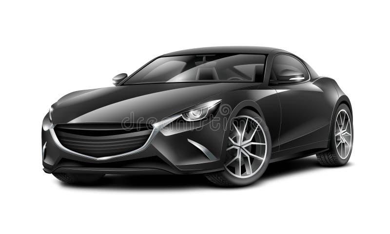 Schwarzes Coupé-sportliches Auto Generisches Automobil mit glatter Oberfläche auf weißem Hintergrund vektor abbildung