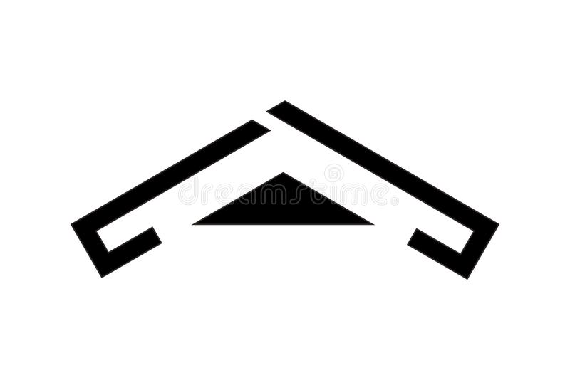 Schwarzes Dachlogodesign, Vektorillustration stock abbildung