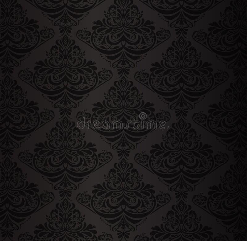 Schwarzes Damastmuster mit Weinleseblumenverzierung stock abbildung