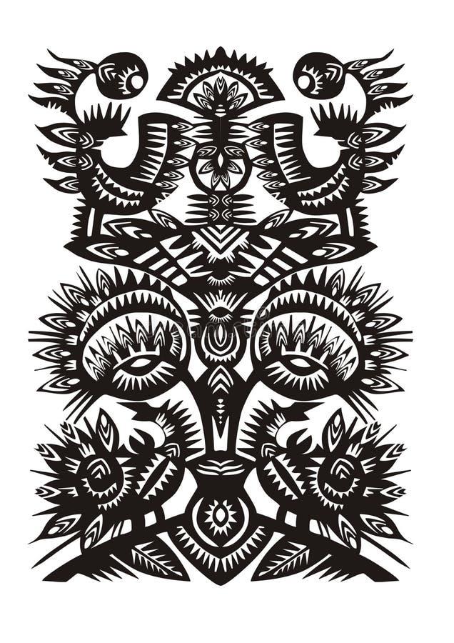 Schwarzes dekoratives Muster mit Vögeln und Blumen lizenzfreies stockbild